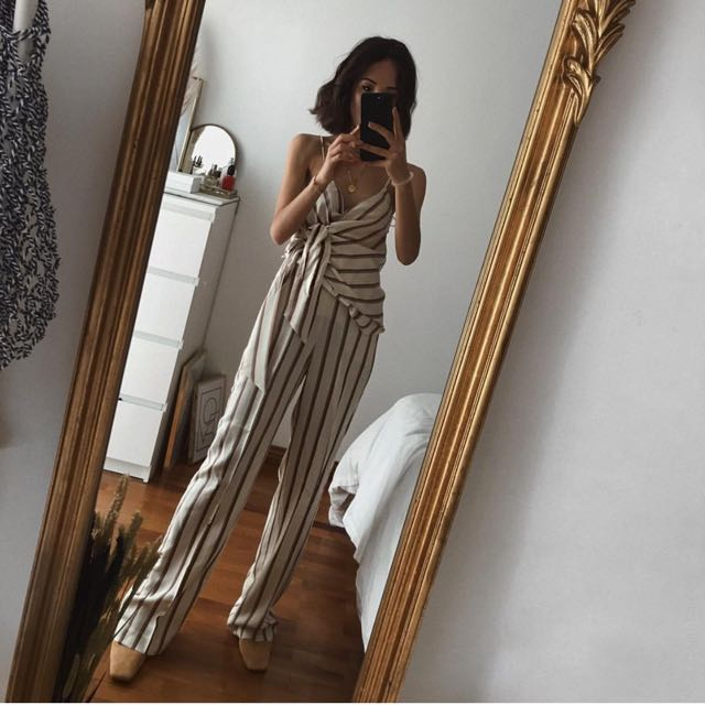 new style of 2019 exquisite style save up to 80% MANGO bow striped top and straight striped trousers