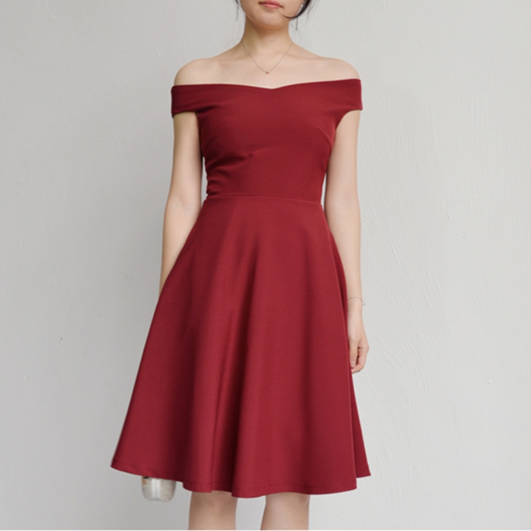 d794c8f667d3 Off Shoulder Midi Dress in WINE