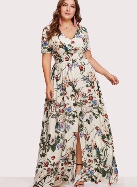 1a38c8df7a0 Plus size v-neck sexy casual dress Floral short sleeve dress Php 490 ...