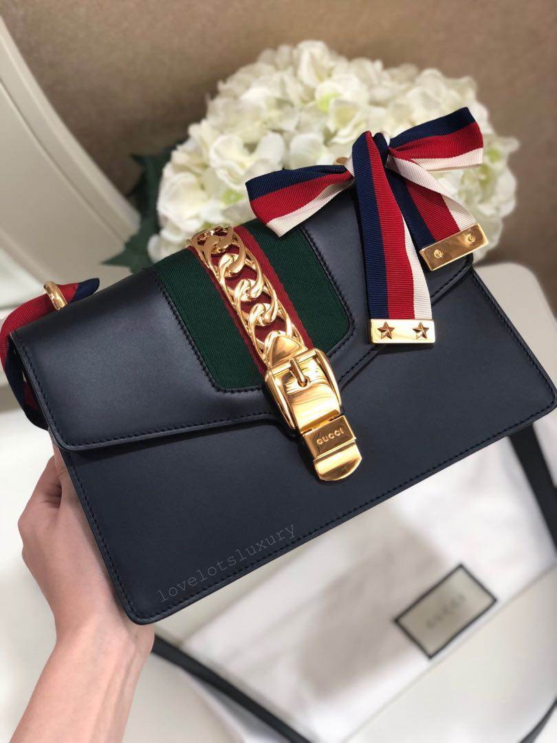 16d87035a69 SOLD) RTP 3460 New Unworn Gucci Sylvie Shoulder Bag Small in Navy ...