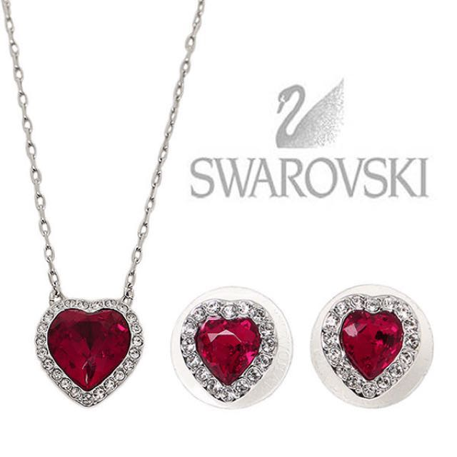 70d1eb437 Swarovski Heart Necklace & Earrings Set, Women's Fashion, Jewellery on  Carousell