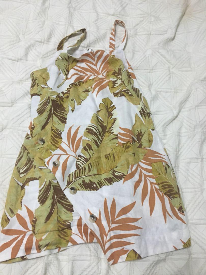 Zulu and zephyr palm leaf linen dress