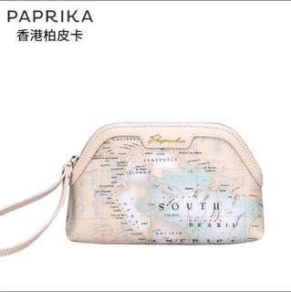 女手拿手挽包地圖小錢包便攜化妝品包散 牛奶色