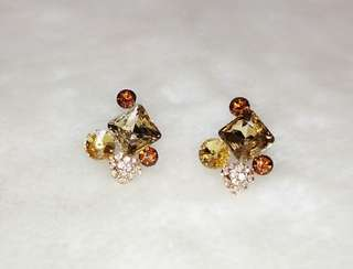 Brown Crystal Rhinestone Golden Plated Earring