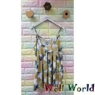 #1526 菠蘿圖案吊帶背心T恤上衣(韓國製造)