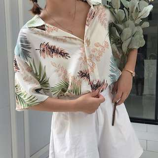 [T910] Pastel Tropical Leaves Shirt