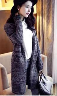 Grey black knitted cardigan