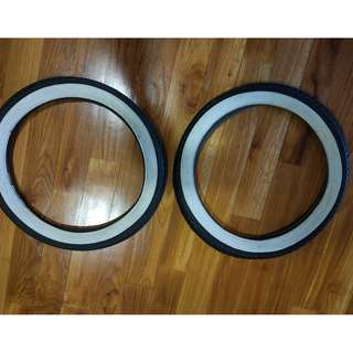 "16"" x 1.75 Classic White Wall Tire + Inner Tube - 1 Pair"