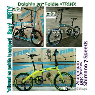 "Trinx Dolphin : 20"" Aluminum Foldable Road Bikes from $309 ✩ Shimano 7 Speeds ✩ compact & light weight ✩ fit nicely into car boots! ★ Allowed on Bus√ & MRT√ ✩ Brand New Bicycles"