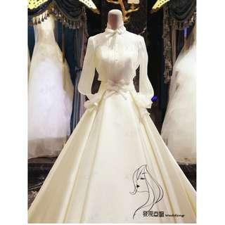 (◕‿◕)2018新款春夏立领结婚顯瘦缎面拖尾奢華復古婚紗