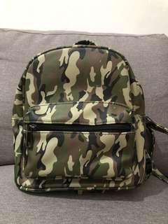 Stradivarius Army Pattern Mini Backpack