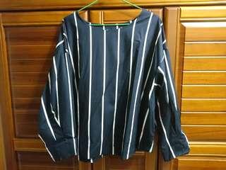藍條短版上衣(中尺碼)