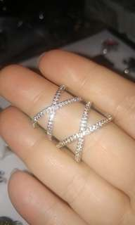 New fashion silver cz cross rings