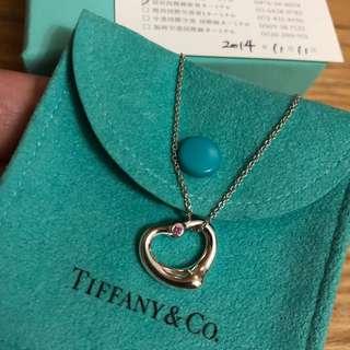 保證真品 蒂芬妮 Tiffany 愛心 粉紅色 藍寶石 Open heart 純銀 項鍊 經典款式 二手 正品 蒂芙妮