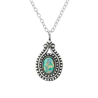 Sterling Silver 925 Oval Synthetic Opal Necklace With Opal