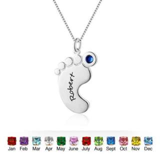 Personalized Foot Birthstone Name Necklace Mom's Custom Children Name Necklaces