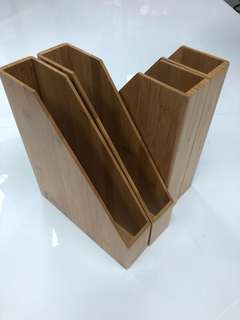 4 x A4 bamboo magazine paper file tray organiser