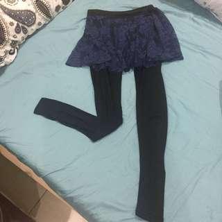 🚚 鏤空蕾絲假兩件褲裙