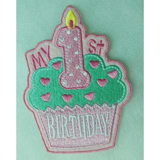 My 1st Birthday Embroidered Iron On Patch