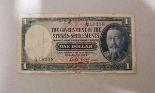 1935 Straits Settlement one dollar