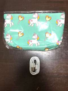 Unicorn pouch and free iPhone cable