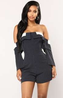 FashionNova Well Qualified Striped Romper MEDIUM
