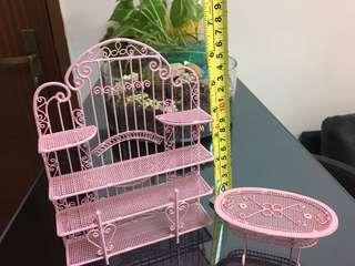 Miniature display rack & table set