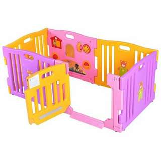 Safty Baby playpen 6 panels. Color -Purple with Yellow Gate. Brand New in Box with Installation Manual.