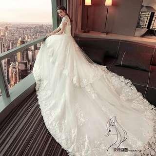(◕‿◕)2018新款结婚禮服新娘顯瘦公主長拖尾婚纱