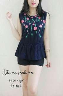 4 warna Blouse wanita sakura blouse tanktop blouse casual blouse motif