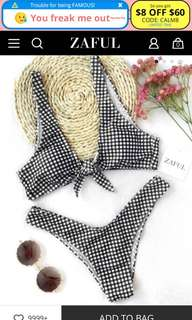 Zaful Front-Tie Plaid Bikini (TOP ONLY)
