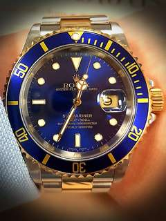 Rolex Submariner blue 16613 rare yr2000 unpolished 40mm half gold