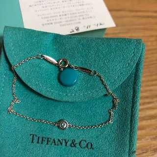 保證真品 蒂芬妮 Tiffany 單顆 圓形 藍色 藍寶石 手鍊 手鏈 經典款 純銀 二手 正品 約95成新 蒂芙妮