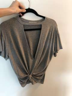 M Boutique - Grey Top with Large Front Slit