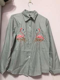 紅鶴條紋襯衫