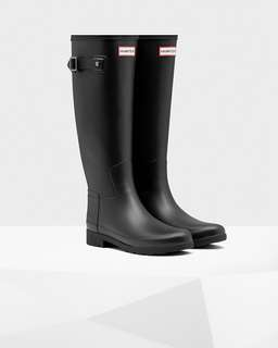 Matte Black Original Tall Hunter Boots with socks