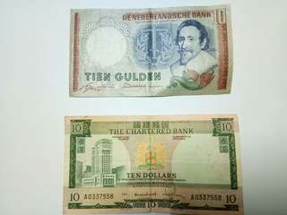 Old notes from Amsterdam (RM100) and Hongkong (RM100)