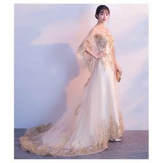 Pre order gold white cape fishtail Wedding bridal prom dinner dress gown  RBP0739