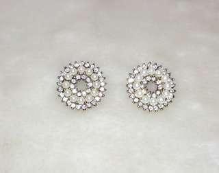 Round Rhinestone Fake Pearl Stud Earring