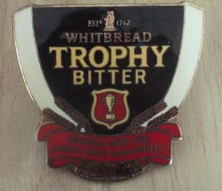 GENUINE WHITBREAD TROPHY BEER PUMP ENAMEL METAL ADVERTISING PLAQUE H47