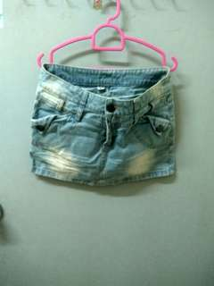 Acid washed denim mini skirt