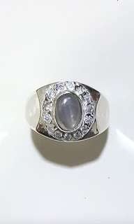 (FOR SALE) Natural Ceylon Blue Star Sapphire 925 Silver Custom-Made Ring