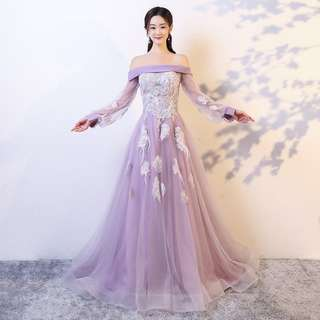Pre order lilac purple yellow off shoulder long sleeve fishtail Wedding bridal prom dinner dress gown  RBP0741