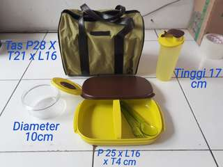 Lunch box set with bag ori tuppeware