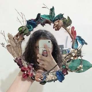 手作🌺乾燥花圈鏡子