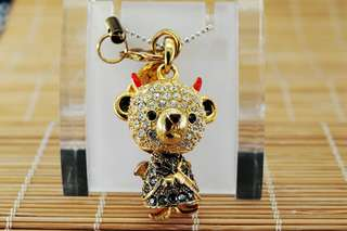 Crossfor Teddy Bear Crystal Necklace Devil Teddy Bear
