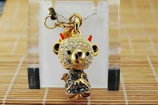 Crossfor Teddy Bear Crystal Necklace Devil Teddy Bear