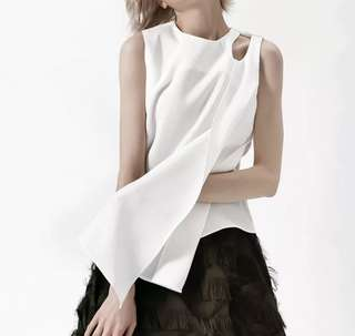 PO - Sleeveless Ribbons Patchwork White Top (4 colors)