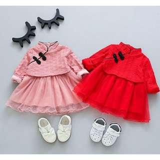全新 旗袍紗裙洋裝 紅色90碼