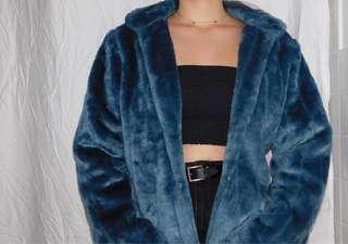 Faux fur teal coat